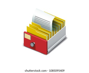 Archive. Folder in the archives. Drawer with folders for files. Isometric archive. Archive documents. Archival document. Database. Open card catalog. Vector illustration Eps10 file