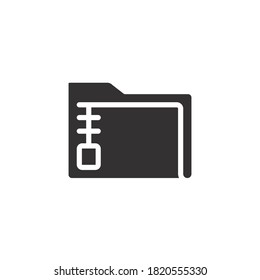 Archive Folder Icon. Zip File Type and Extension. Compressed documents in archive directory solid style for mobile application, and website logo Vector illustration. Design on white background. EPS 10