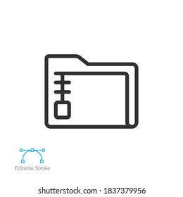 Archive Folder Icon. Zip File Extension Type. Compressed documents in archive directory line style for mobile app, and web logo. Editable stroke Vector illustration Design on white background. EPS 10