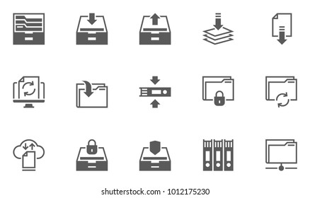 Archive and Folders Vector Icons Set. Contains Repository, Sync, Storage of Documents and more.