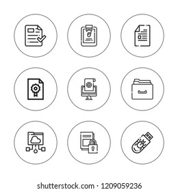 Archive icon set. collection of 9 outline archive icons with dossier, document, file, files, medical history, folder icons. editable icons.