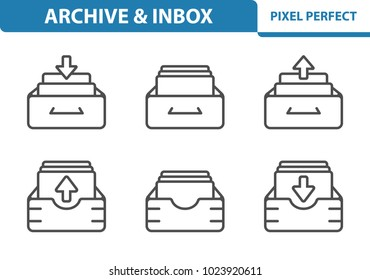 Archive & Inbox Icons. Professional, pixel perfect icons optimized for both large and small resolutions. EPS 8 format. 3x size for preview.