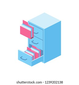 Archive isometric 3d icon. Creative illustration idea.