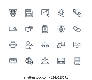 Archive, Landing page, Adaptive Layout, Secu network, 404 error, Cross-platform, Html5, SEO Cloud, Error, Game development, Advertising outline vector icons from 20 set