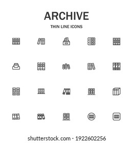 Archive line icon set. Collection of modern signs for web design and mobile app. Business pictograms. Black icon on white background. Collection of high-quality outline logo