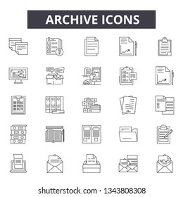 Archive line icons for web and mobile design. Editable stroke signs. Archive  outline concept illustrations - Shutterstock ID 1343808308
