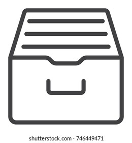 Archive storage line icon, web and mobile, data box sign vector graphics, a linear pattern on a white background, eps 10.