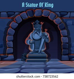 Archway in medieval castle with stone statue of king with a sword. A symbol of greatness and autocracy of the king. Vintage architecture. Vector cartoon close-up illustration.