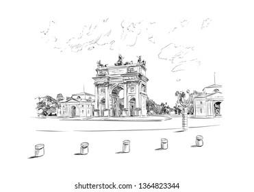 Arco della Pace. Piazza Sempione, Milan. Italy. Hand drawn sketch. Vector illustration.