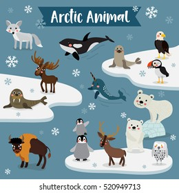 Arctic Animals cartoon with snowflakes.