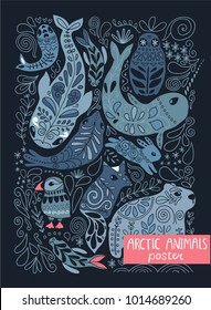 Arctic animals poster - puffin, bear, hare, fox, whale, narwhal, seal. Beautiful hand drawn ornamental wild creatures with floral illustrations.