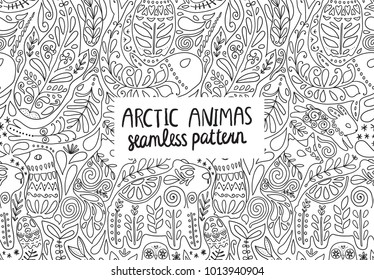 Arctic animals seamless pattern - puffin, bear, hare, fox, whale, narwhal, seal. Beautiful ornamental wild creatures with floral illustrations. Tileable design for fabric textile or wrapping paper.