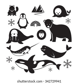 Arctic Animals Silhouette Set, Winter, Nature Travel and Wildlife