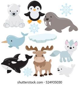 Arctic animals vector cartoon illustration