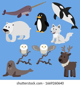 Arctic animals vector illustration cartoon