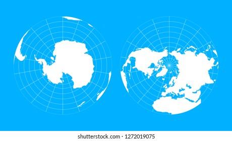 Arctic and antarctic globe hemispheres. World map in blueprint style