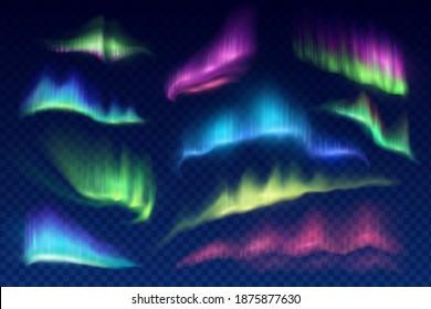 Arctic aurora borealis, vector polar lights, northern natural phenomena isolated on transparent background. Amazing iridescent glowing wavy illumination on night sky. Realistic 3d shining aurora set