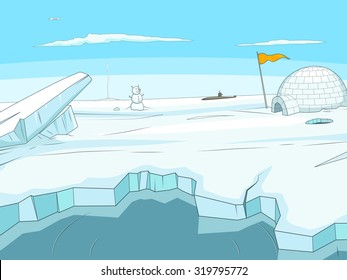 Arctic cartoon  background vector illustration