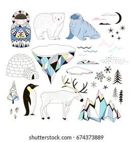 Arctic clip-arts set