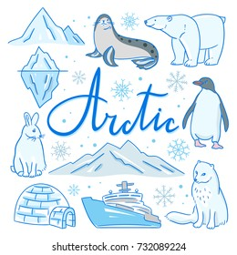 Arctic hand drawn illustrations. Vector arctic set: north animals, iceberg, mountains, ship