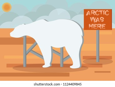 Arctic was here. A billboard with shape of polar bear indicates the place, where was tundra and arctic deserts. Illustration of consequences of global warming