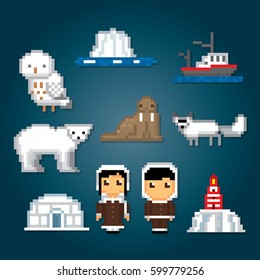 Arctic icons set. North pole. Pixel art. Old school computer graphic style. Games elements.