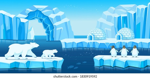 Arctic landscape with icebergs, igloo, polar bears, penguins and sea or ocean. Vector  cartoon illustration for games and mobile applications.