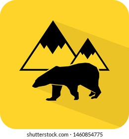 Arctic logo. Polar bear and ice glacier mountains illustration. Flat 3D shadow design. yellow background black vector. product brand service label banner board display. App icon.