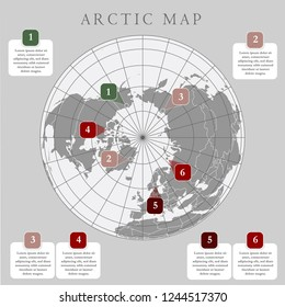 Arctic map with countries boundary, grid and label. Arctic regions of northern hemisphere. Circumpolar projection. Vector. Infographic. Gray background.