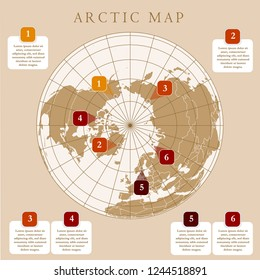 Arctic map with countries boundary, grid and label. Arctic regions of northern hemisphere. Circumpolar projection. Vector. Infographic. Brown background.