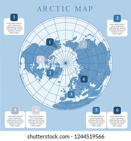 Arctic map with countries boundary, grid and label. Arctic regions of northern hemisphere. Circumpolar projection. Vector. Infographic. Blue background.