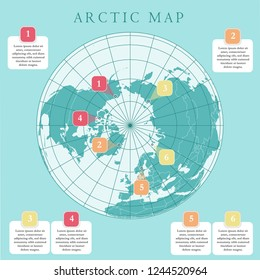 Arctic map with countries boundary, grid and label. Arctic regions of northern hemisphere. Circumpolar projection. Vector. Infographic. Green background.