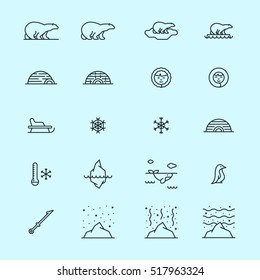 Arctic North Pole minimalistic flat line stroke icon pictogram set
