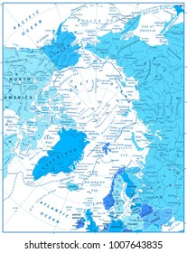 Arctic Ocean Map In Colors of Blue. Highly detailed vector illustration.