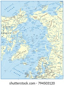 Arctic Ocean Map. Highly detailed vector illustration.