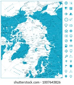 Arctic Ocean Map and navigation icons. Highly detailed vector illustration.