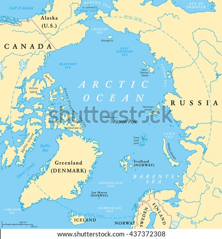 Arctic Circle Russia Map.Arctic Ocean Map North Pole Arctic Stock Vector Royalty Free