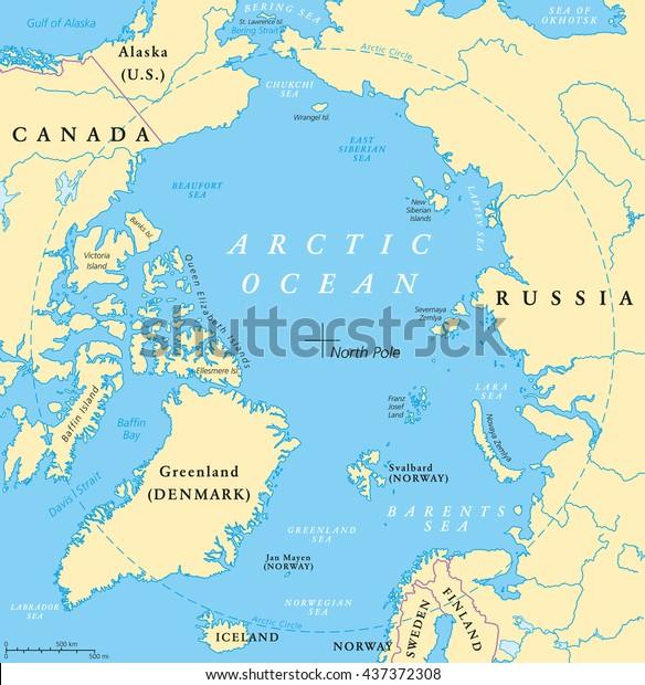 Map Of Canada Davis Strait.Arctic Ocean Map North Pole Arctic Stock Vector Royalty Free 437372308