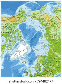Arctic Ocean Physical Map. Highly detailed vector illustration.
