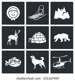 Arctic and oil production Vector Icons Set
