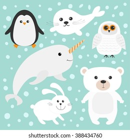 Arctic polar animal set. White bear, owl, penguin, Seal pup baby harp hare rabbit narwhal unicorn-fish. Kids education cards. Blue background with snow flake Isolated. Flat design. Vector illustration