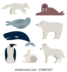 Arctic and Polar Animals vector set. Polar bear, Penguin, seal,  whale, hare, wolf.  Flat style characters. Isolated on white background.