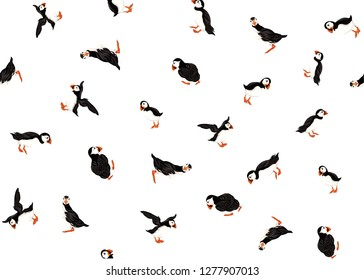 Arctic Puffins seamless pattern. Vector illustration.