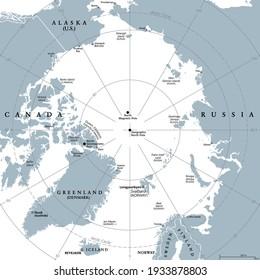 Arctic region, gray political map. Polar region around North Pole of Earth. The Arctic Ocean region, with North Magnetic Pole and North Geomagnetic Pole, longitudes and latitudes. Illustration. Vector
