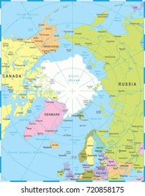 arctic region map countries capitals national のベクター画像素材