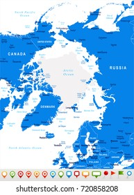 Arctic Region Map - Detailed Vector Illustration