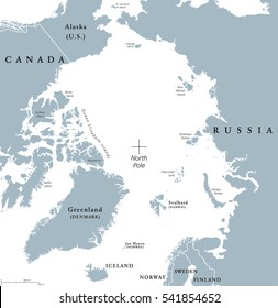 Arctic region political map. Polar region around the North Pole at the northernmost part of Earth. The Arctic Ocean without ice. Gray illustration with English labeling on white background. Vector.