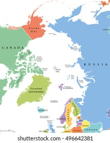 Arctic region single states and North Pole map. Nations in different colors, with national borders and country names. Arctic ocean without sea ice. English labeling and scaling.