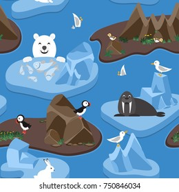 Arctic. Seamless pattern with cute arctic animals and birds on ice floes and islands. Vector illustration