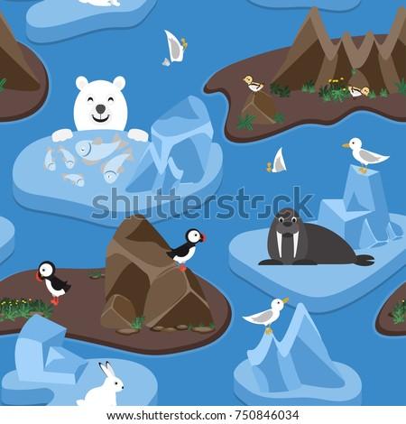 arctic seamless pattern cute arctic animals stock vector royalty